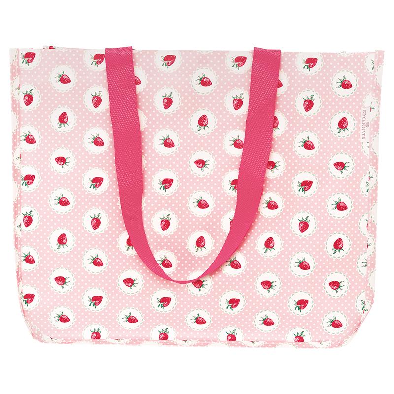 a13412x.jpg - Shopper bag Strawberry, Pale pink - Elsashem Butiken med det lilla extra...