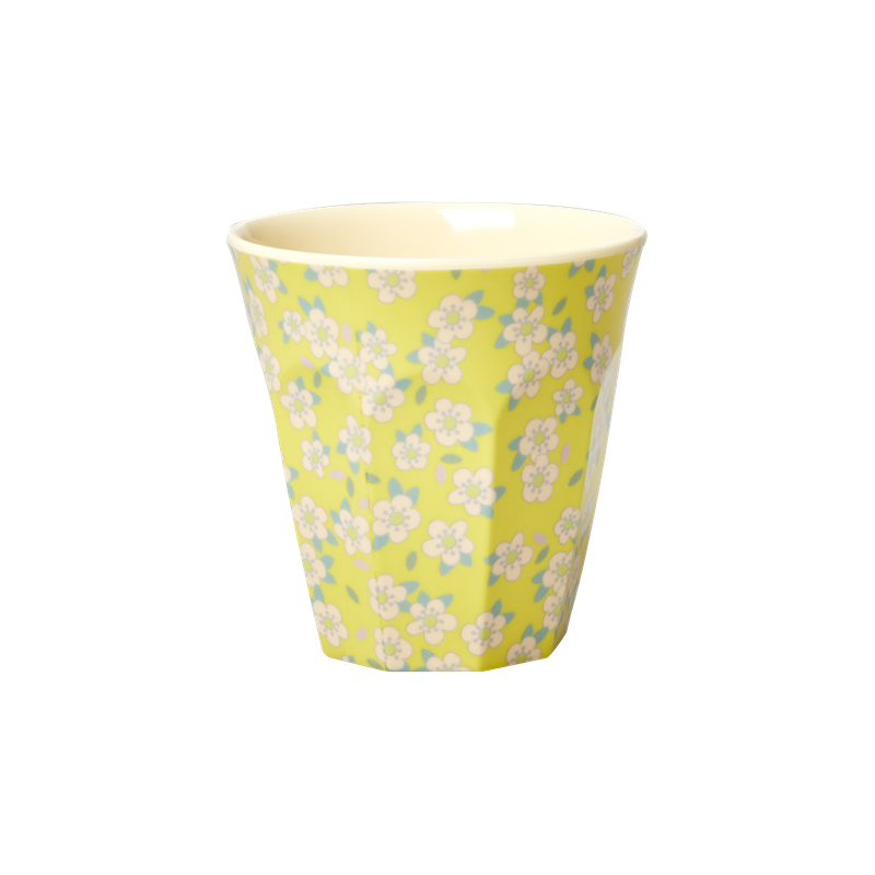 a13447x.jpg - Melamine cup with small Flower print, Yellow Medium - Elsashem Butiken med det lilla extra...