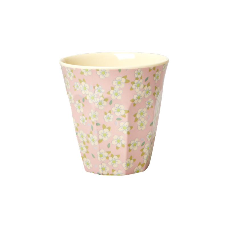a13448x.jpg - Melamine cup with small Flower print, Pink Medium - Elsashem Butiken med det lilla extra...