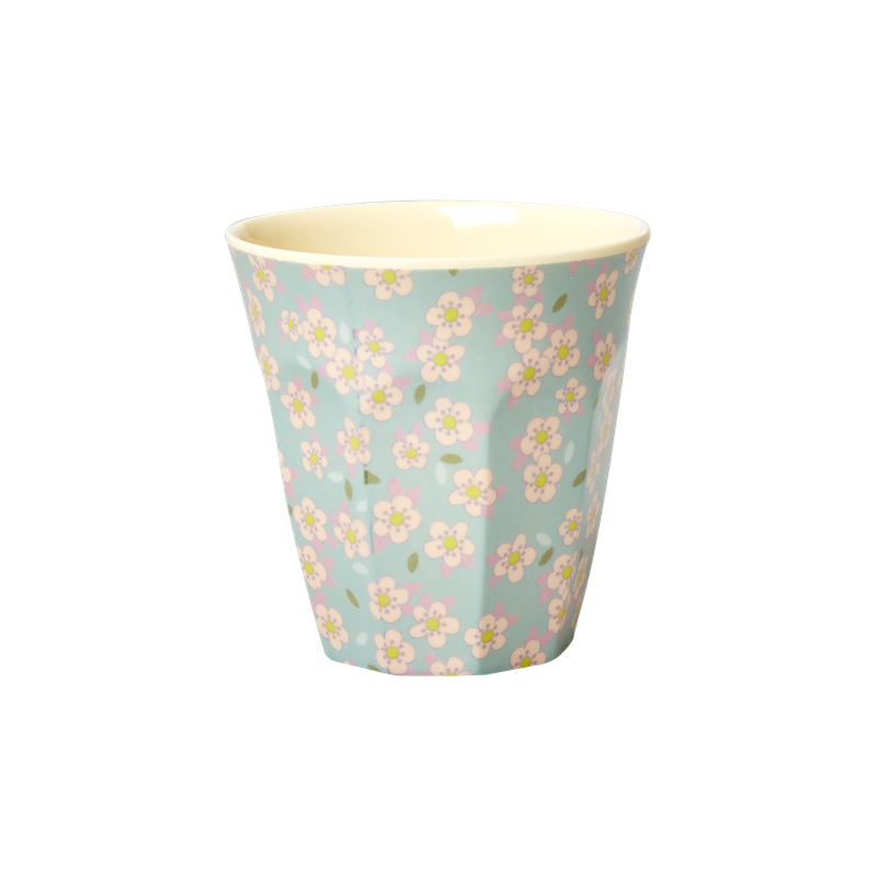 a13449x.jpg - Melamine cup with small Flower print, Blue Medium - Elsashem Butiken med det lilla extra...