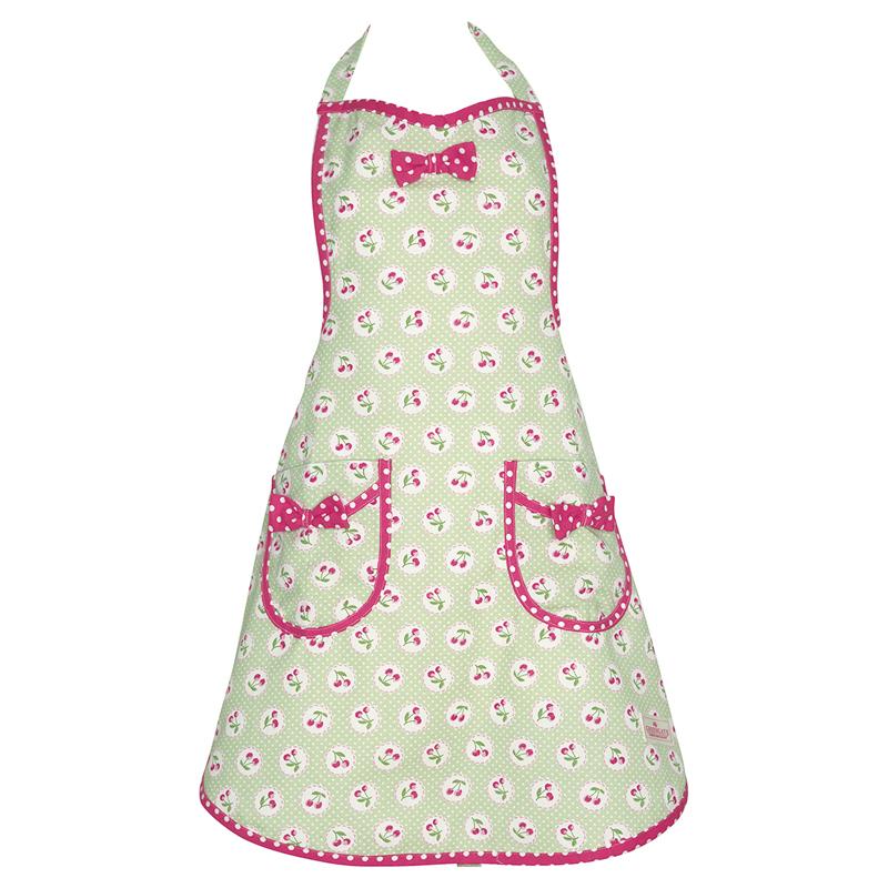 a13456x.jpg - Förkläde Cherry berry, Pale green w/bow - Elsashem Butiken med det lilla extra...