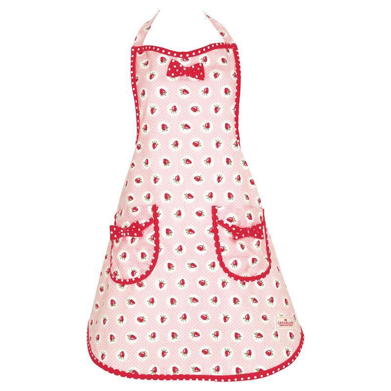a13457x.jpg - Förkläde Strawberry, Pale pink w/bow - Elsashem Butiken med det lilla extra...