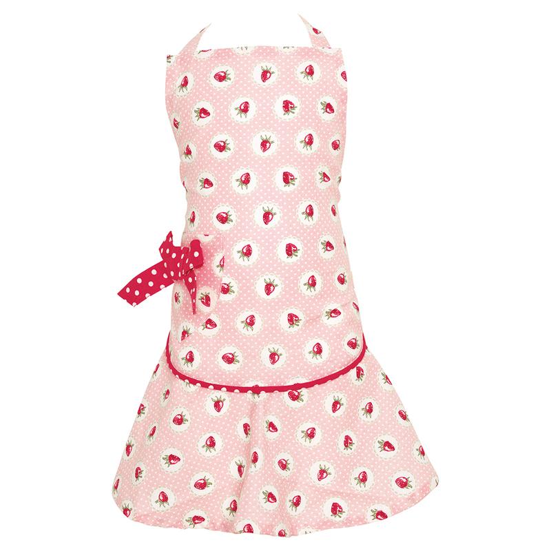 a13461x.jpg - Förkläde till barn Strawberry, Pale pink w/bow - Elsashem Butiken med det lilla extra...