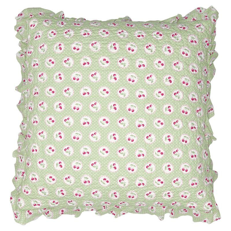 a13692x.jpg - Kuddfodral Cherry berry, Pale green w/frill - Elsashem Butiken med det lilla extra...