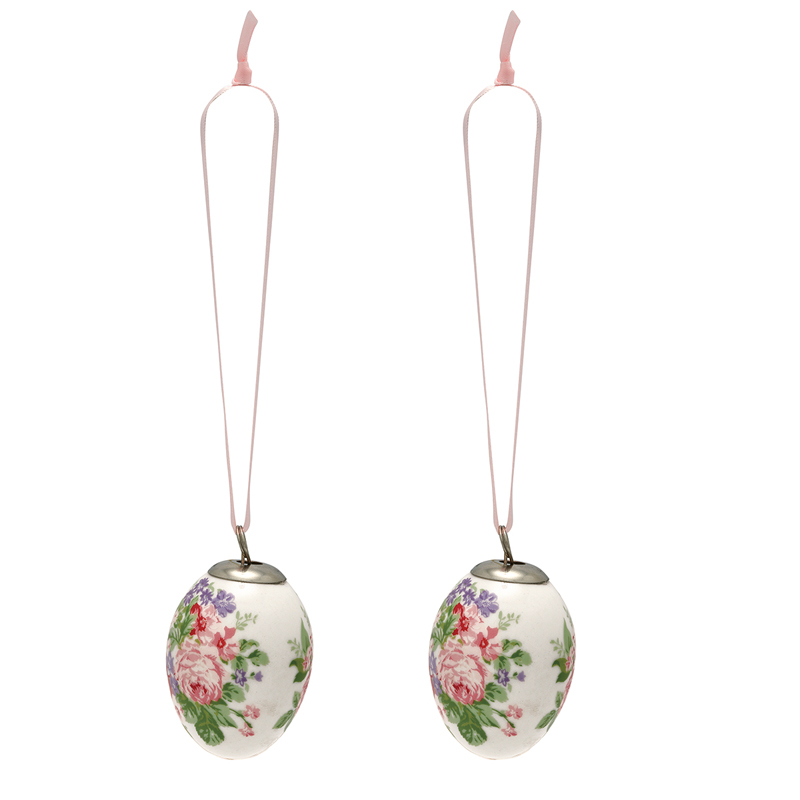 a13741x.jpg - Decorative egg Rose, White set of 2 hanging - Elsashem Butiken med det lilla extra...
