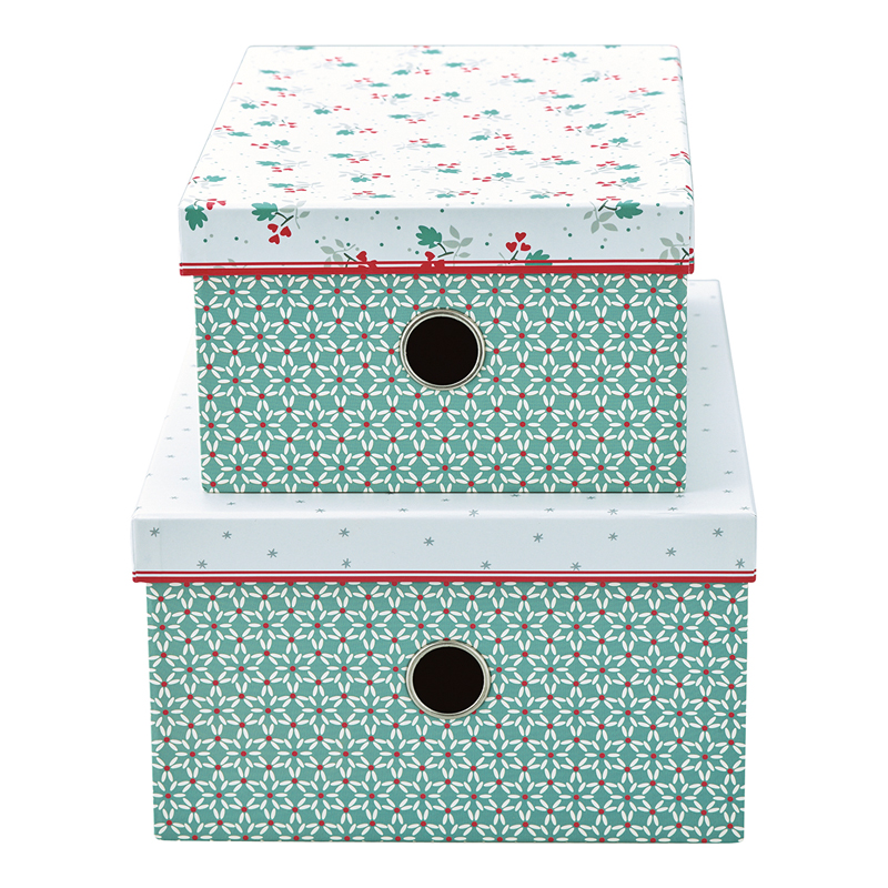 a14135x.jpg - Storage box Christmas car, Red set of 2 - Elsashem Butiken med det lilla extra...