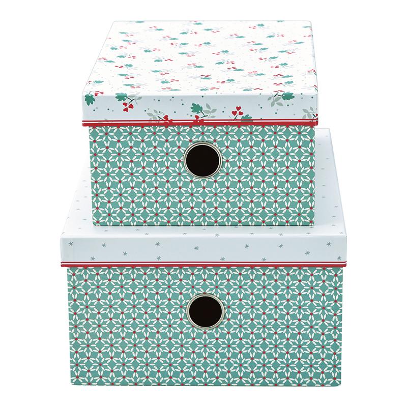 a14135x.jpg - Storage box Christmas car, Red set of 2 - Elsashem Butiken med det lilla extra...