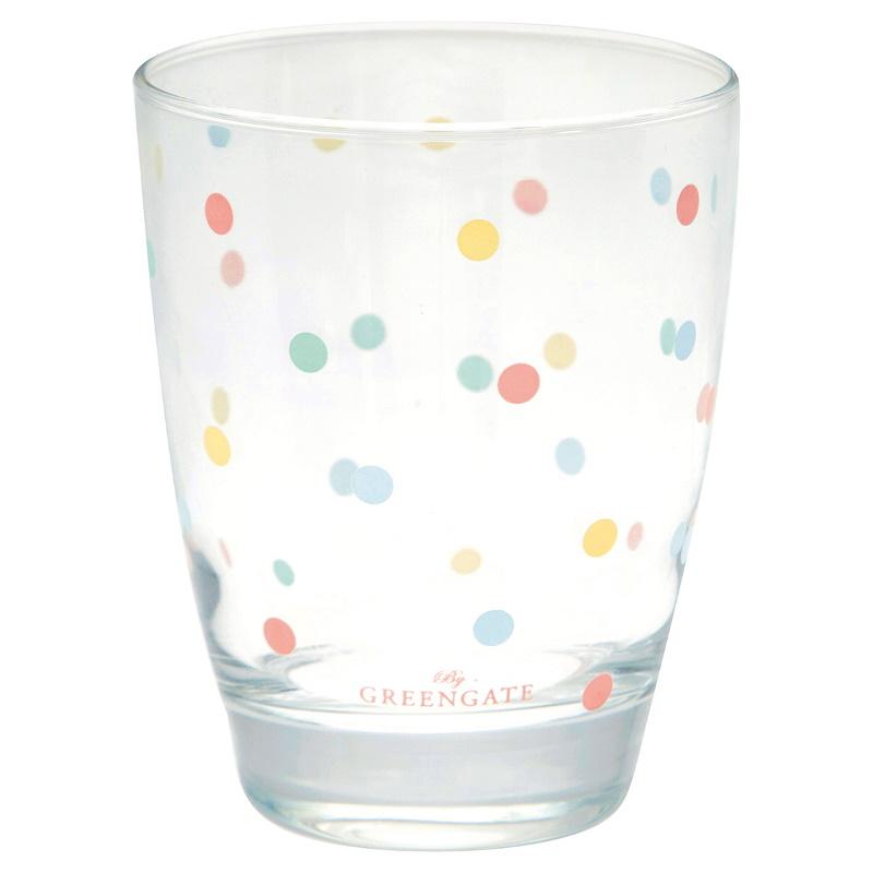 a14280x.jpg - Water glass Multi dots, White - Elsashem Butiken med det lilla extra...