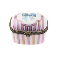Pill box, Rose with stripes/bow