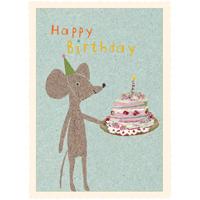 Senaste nytt Kort med kuvert, Mus med födelsedagstårta