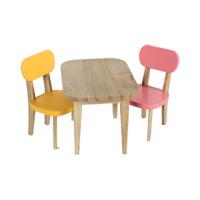 Senaste nytt Träbord och två stolar, Gul och Rosa